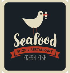 emblem seafood with seagull with fish in its beak vector image