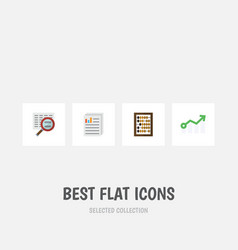 flat icon gain set of document growth counter vector image