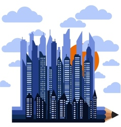 Futuristic city on pencil in clouds with sun vector
