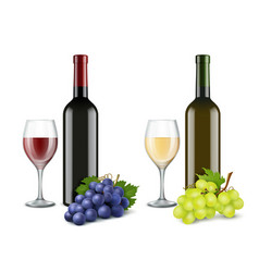 grapes and wine glasses realistic pictures vector image