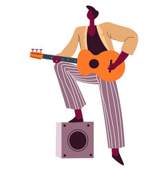 guitarist with acoustic guitar flamenco player vector image