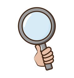hand holding magnifier vector image