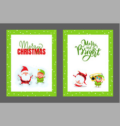 happy holidays and merry christmas cards vector image