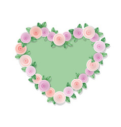 heart frame decorated with roses isolated on vector image