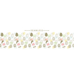 horizontal seamless border with easter eggs vector image