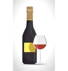 italian wine cup and bottle vector image