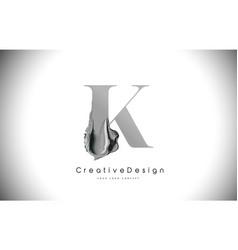 K letter design brush paint stroke black k letter vector