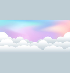 landscape with cloudy paper cut style pastel vector image