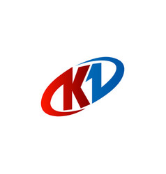 letter k logo red blue color circle logo design vector image