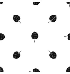 Linden leaf pattern seamless black vector