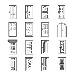 Linear door icons thin outline line doors of vector