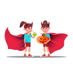 little girl with devil horns cloak and holding vector image