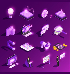 marketing glowing icons collection vector image