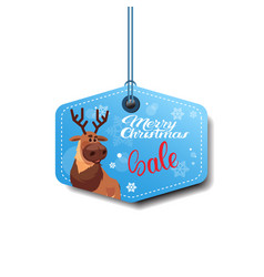 merry christmas sale tag with reindeer holiday vector image