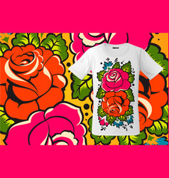 Modern t-shirt design with floral print in vector