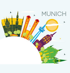 Munich germany city skyline with color buildings vector