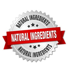natural ingredients 3d silver badge with red vector image