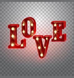 Neon 3d word love with lights vector