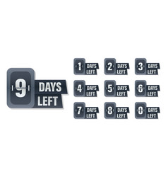 Number days left to go badges vector