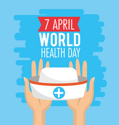 Nurse hat in the hands to health day vector