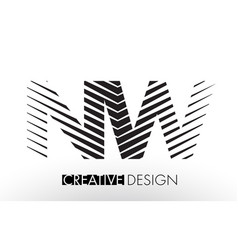 Nw n w lines letter design with creative elegant vector