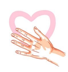 One hand hold heart vector