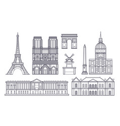Outline paris landscape france landmarks vector
