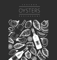Oysters and wine design template hand drawn on vector