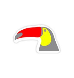 Paper sticker brazilian toucan on white background vector
