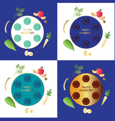 Passover seder plates with food vector