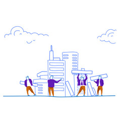 people group construction house skyscraper workers vector image