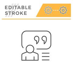 person quote editable stroke line icon vector image