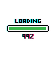 pixel art loading bar 99 percent with glitch vector image