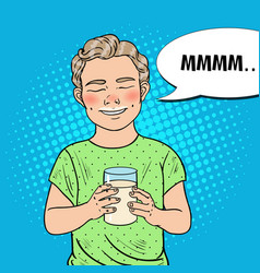 pop art happy boy with glass of milk vector image