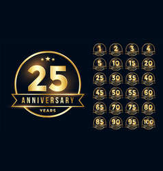 Premium golden anniversary emblem set in line vector
