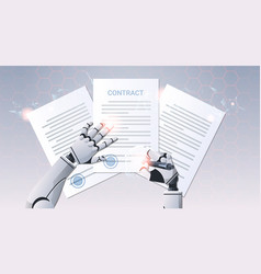 robot hand holding pen signature document signing vector image