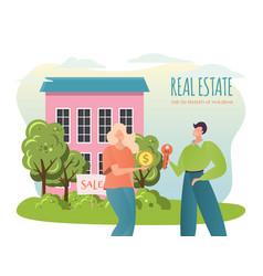 Sale property flat cartoon vector