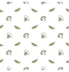 seamless pattern with mushrooms champignons and vector image