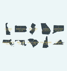 Set 1 5 highly detailed silhouettes usa vector