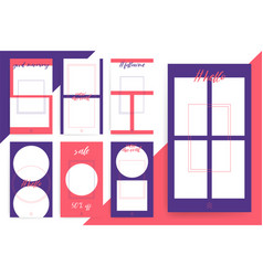 Set of 7 bright editable template for stories and vector
