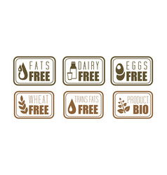 Set of allergen free labels trans fats vector