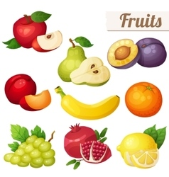 Set of cartoon food icons Fruits isolated on vector image