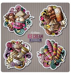 Set of ice cream cartoon stickers vector