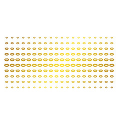 Sexy lips gold halftone pattern vector