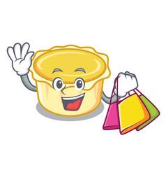 Shopping egg tart character cartoon vector