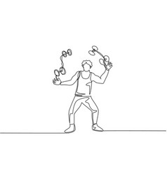 Single one line drawing an acrobat juggling small vector