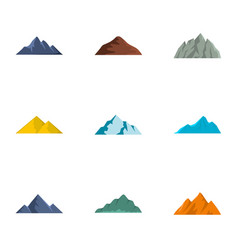 Slope icons set flat style vector