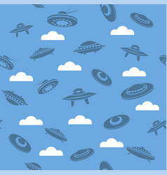 space ship silhouettes seamless pattern vector image