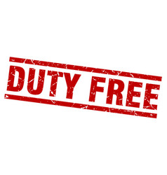 Square grunge red duty free stamp vector