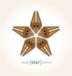 Star with happy squirrel vector image